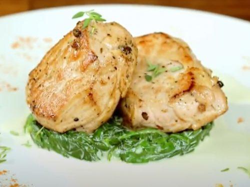 Pork Tenderloin with Garlic-Orange Vinaigrette and Sautéed Spinach Recipe