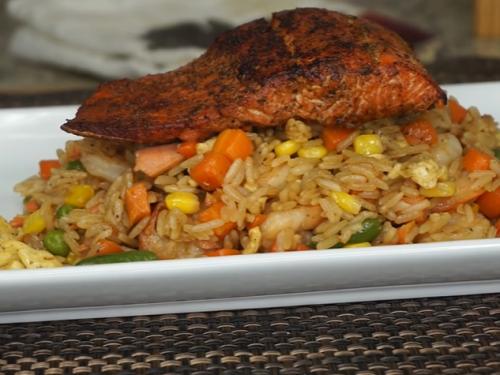 seared salmon with prawn fried rice recipe