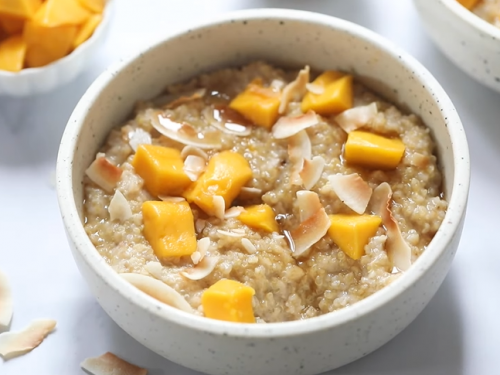 steel cut oatmeal with maple syrup, currants and coconut recipe