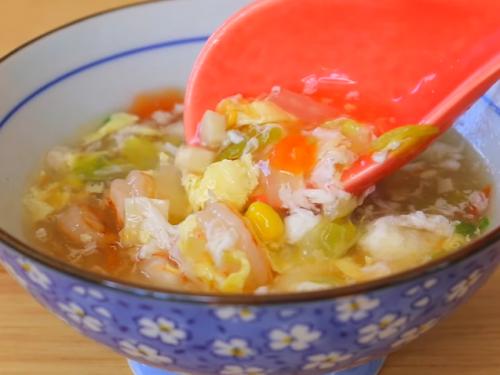 yellow velvet soup with prawns recipe